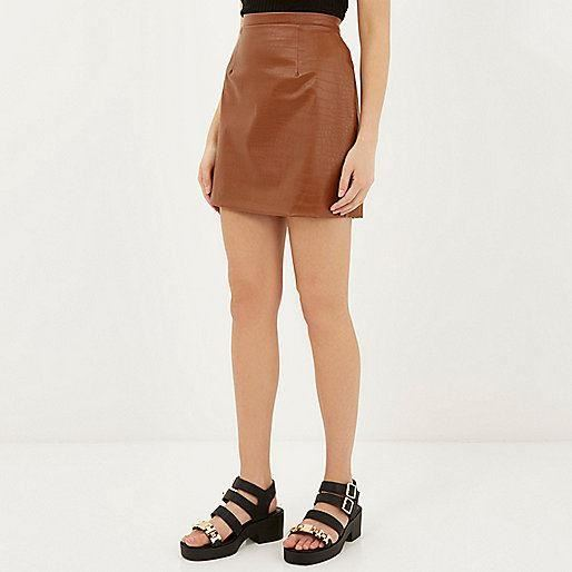 ex river island chocolate brown leather look mock croc