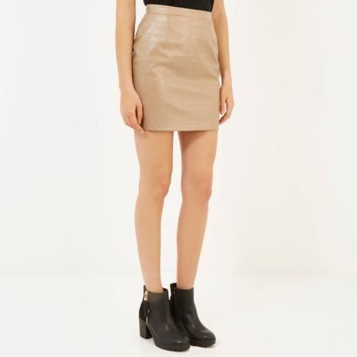 River Island Brown Leather-Look Mock Croc Mini Skirt | eBay
