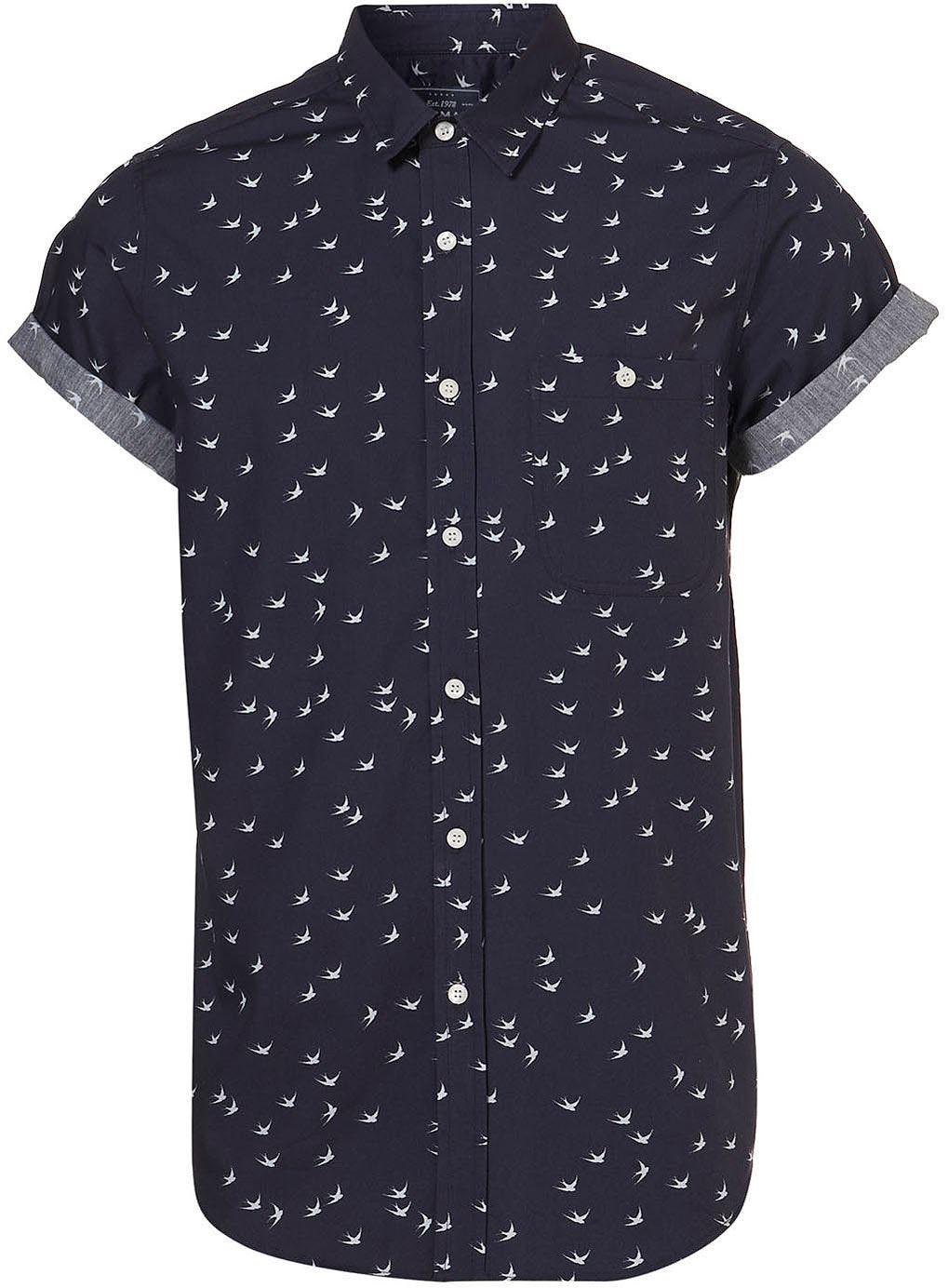 Mens Topman Classic Fit Swallow Print Short Sleeve Shirt