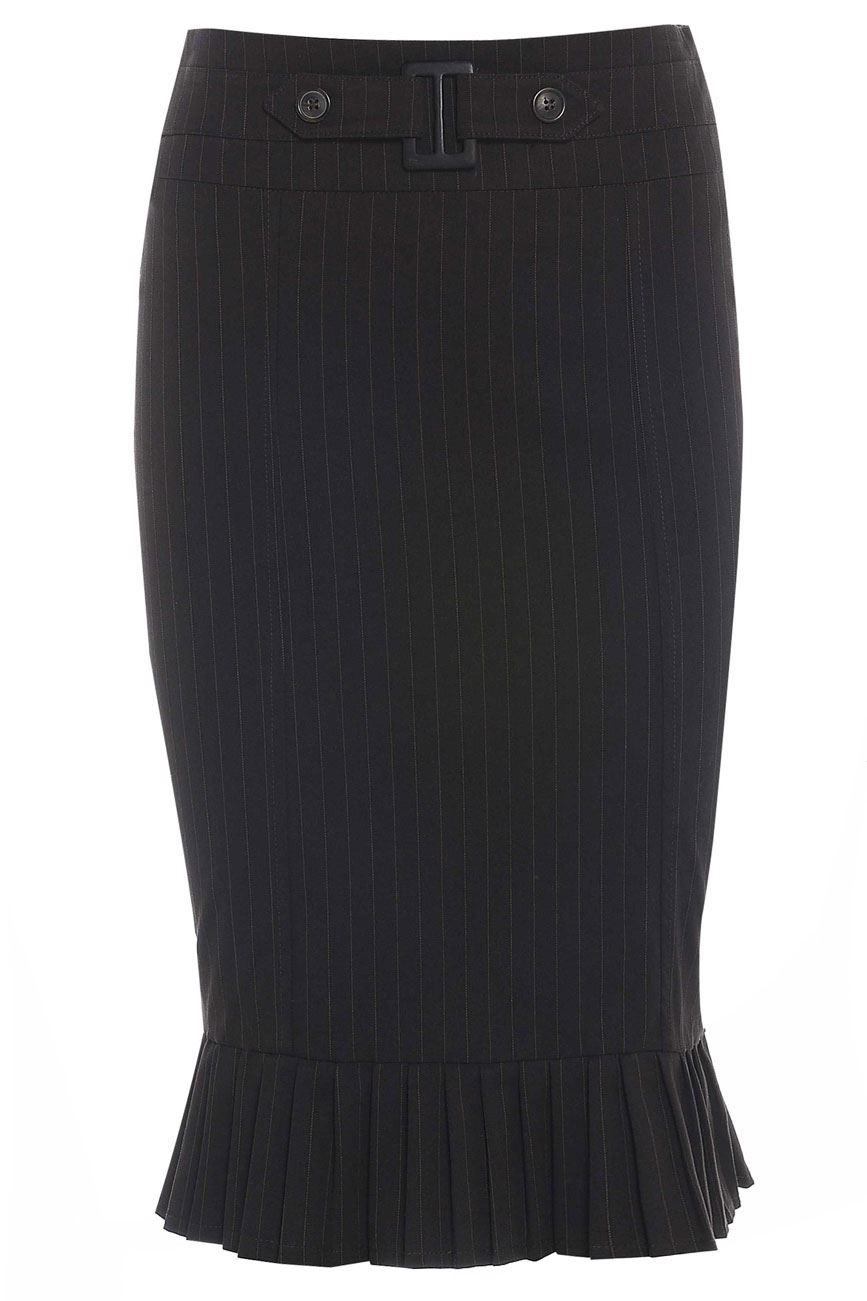 Pinstripe-Buckle-Feature-Fishtail-Skirt