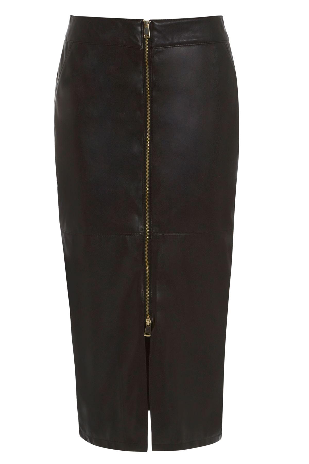 ex ri black leather look zip front pencil skirt ebay