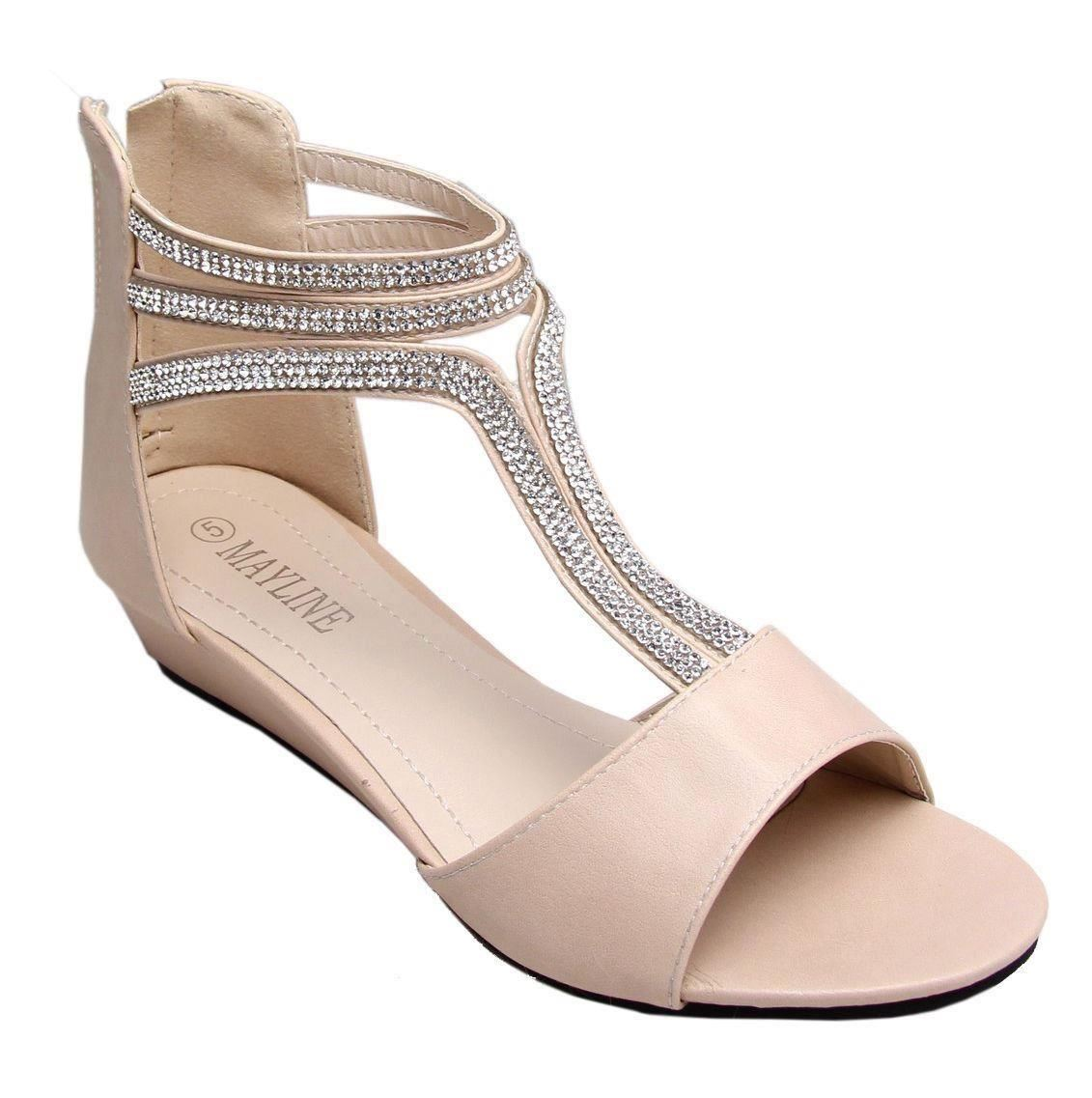 low heel wedge diamante fancy shoes sandal