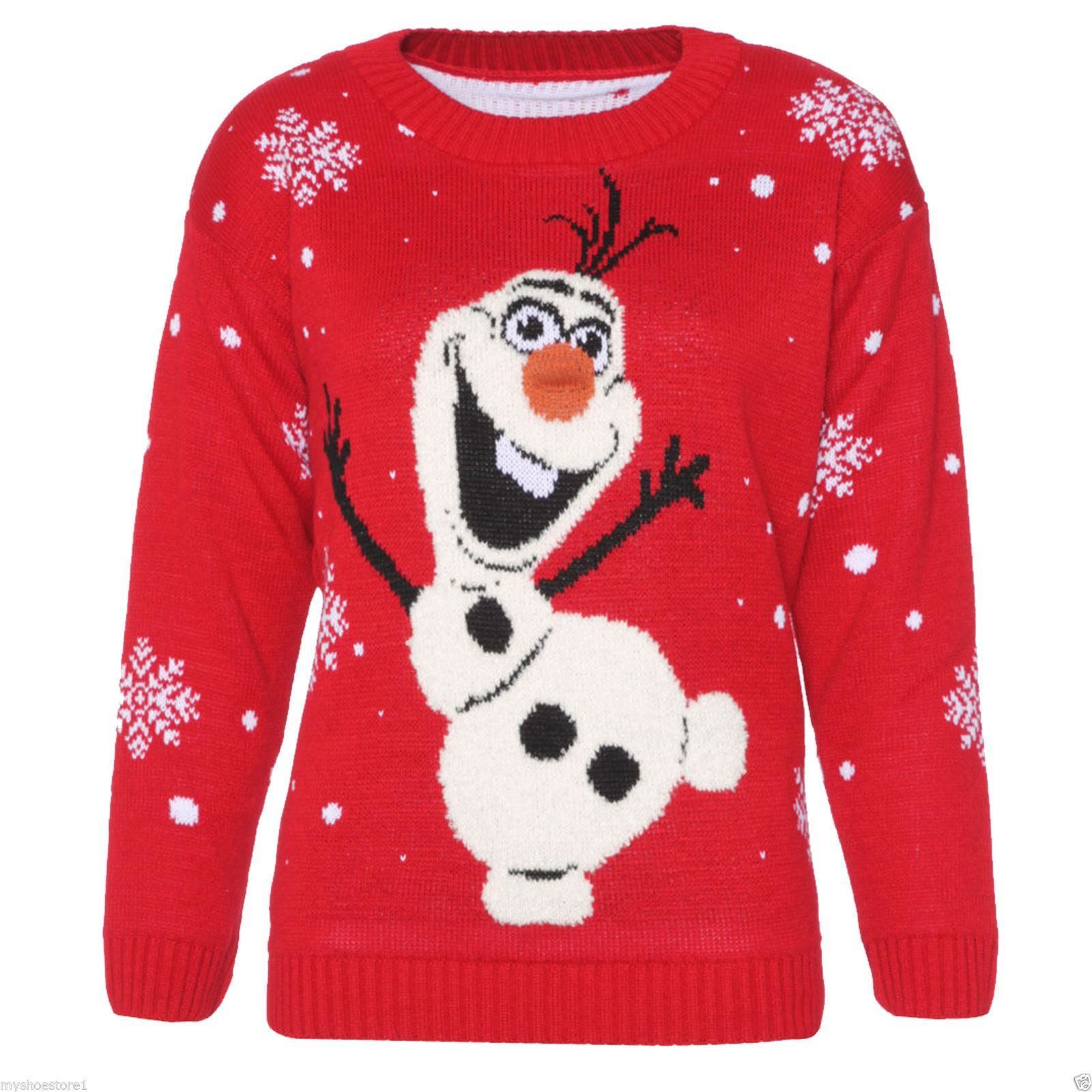 Olaf Christmas Jumper Knitting Pattern : Unisex Christmas Jumpers Olaf Minion ReindeerxMAS Knitted Tops Winter Jumpe...