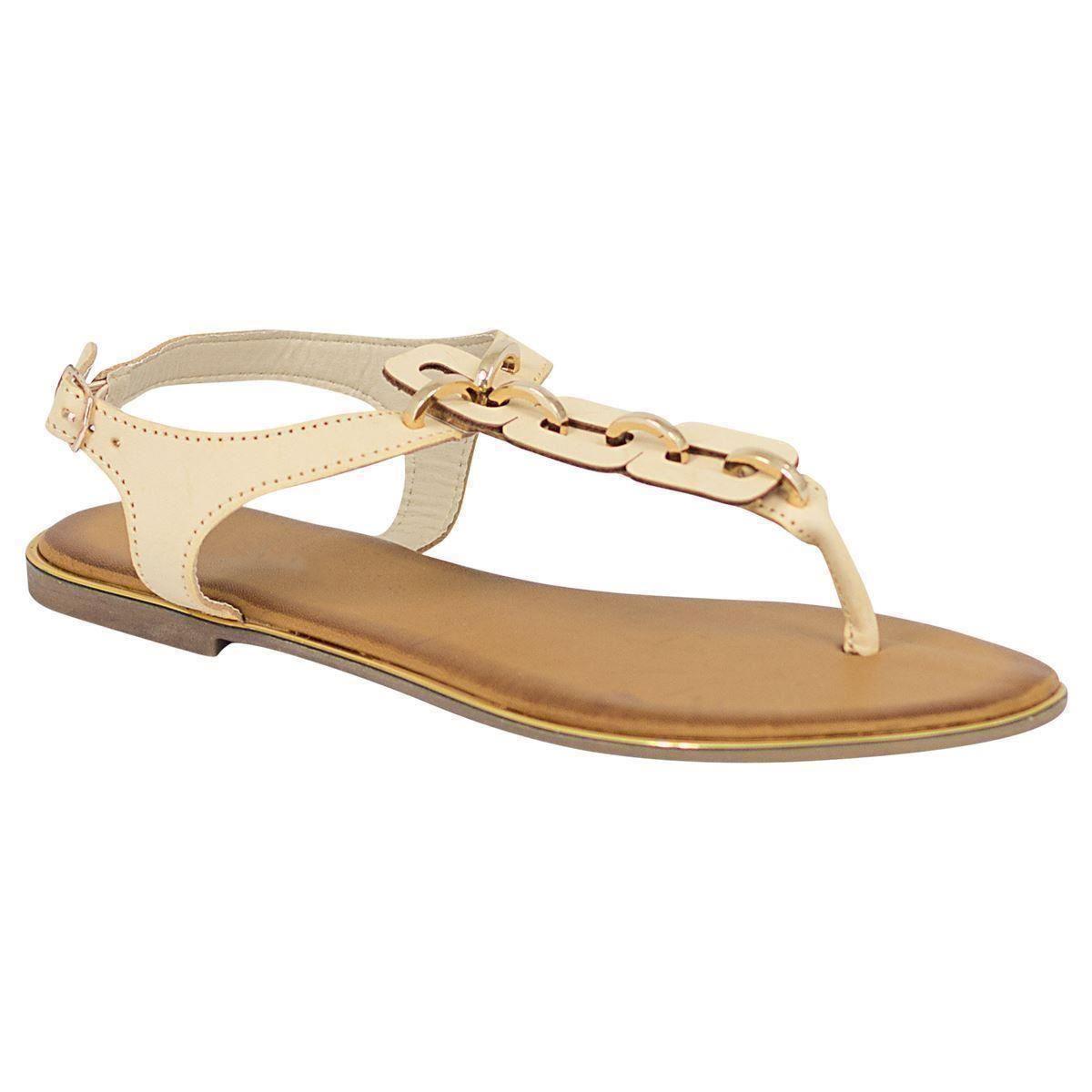 Womens Ladies T Bar Toe Sandals Shoes Flat Heel Gold Chain ...