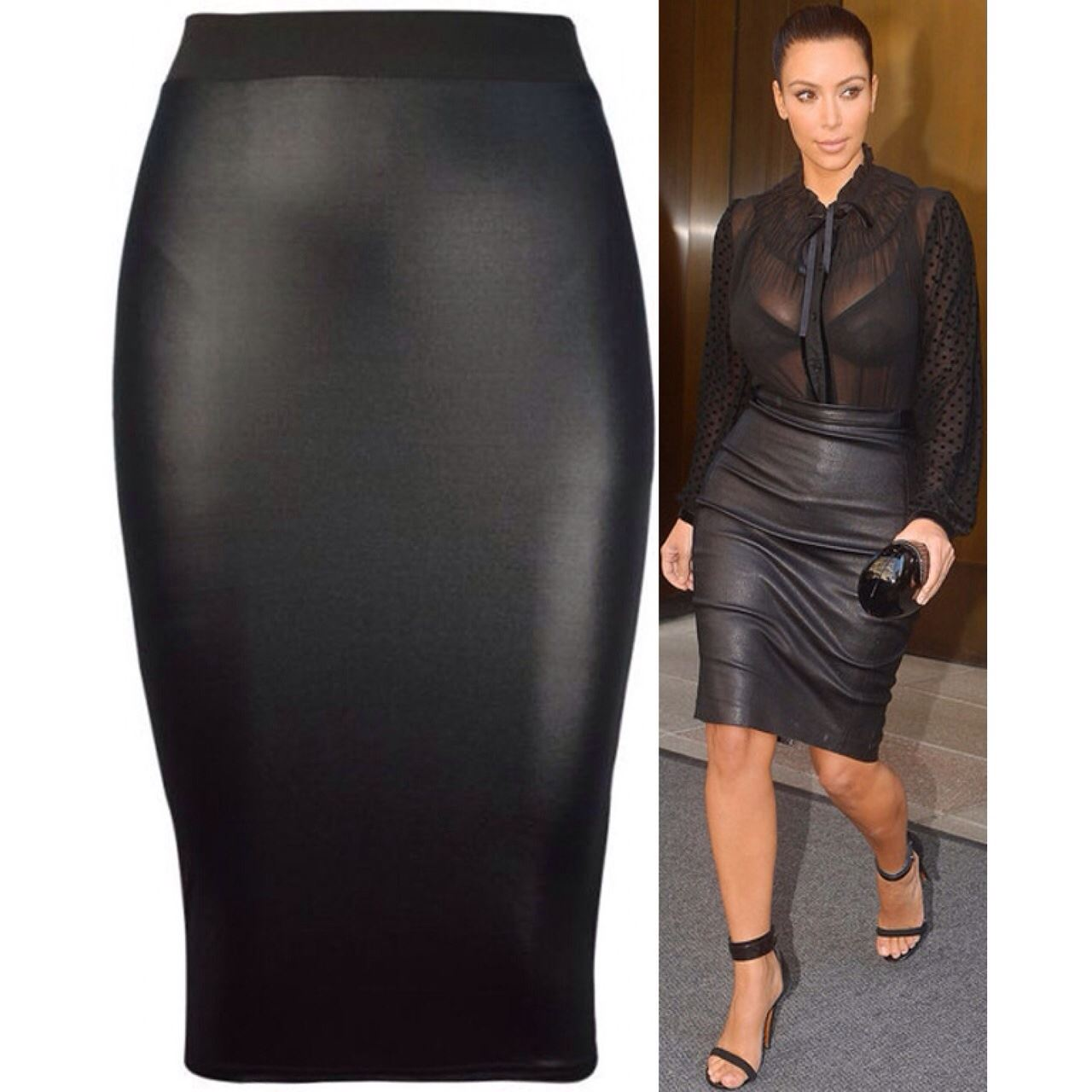 Womens Kim Kardashian Bodycon Pencil Leather Skirt Celeb Ladies ...