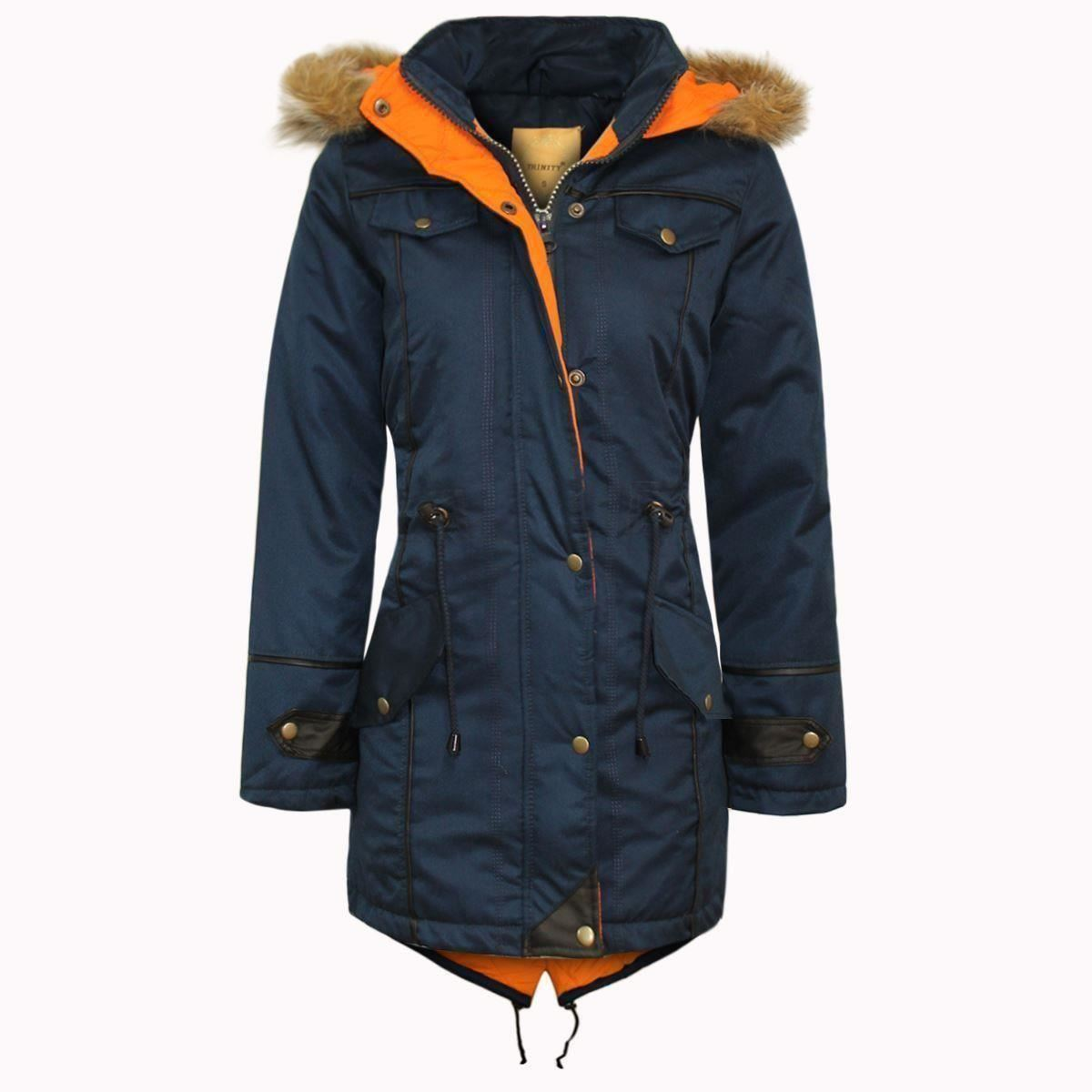 Childrens Kids Parka Quilted Jacket Girls Winter Coat Fur Hooded