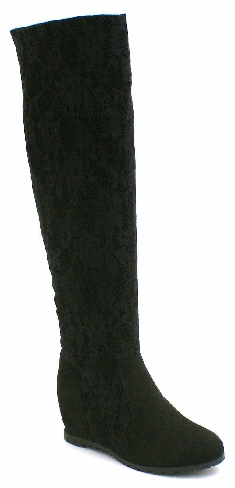 womens warm lace knee high boots shoes wedge