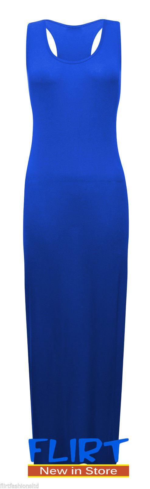 Plus Size Womens Racer Back Plain Maxi Dress Bodycon Sleeveless Ladies Sexy Long