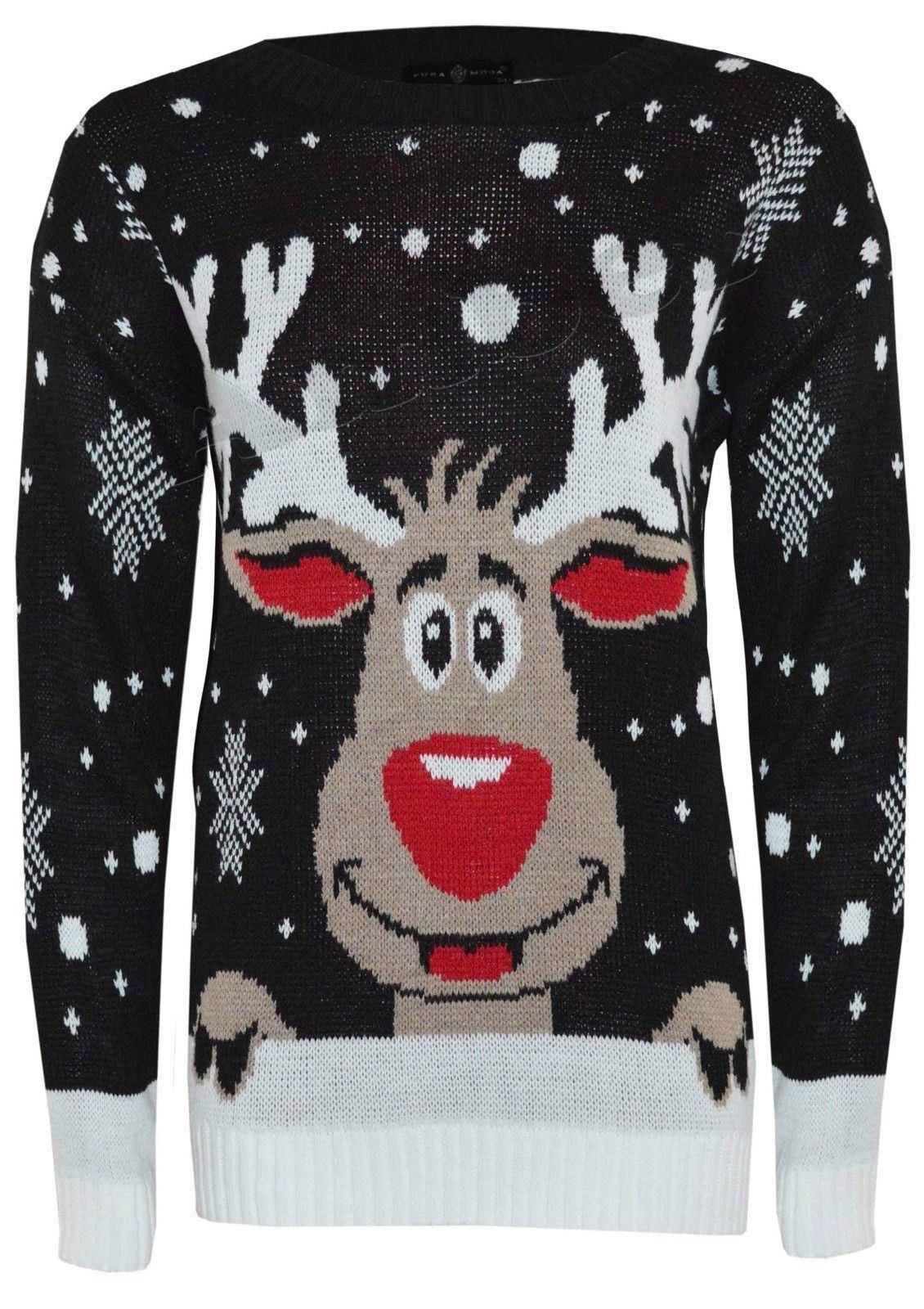Unisex Christmas Jumpers Olaf Minion ReindeerxMAS Knitted Tops Winter Jumpe...